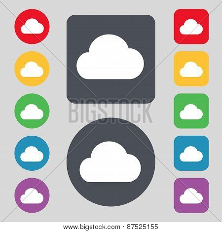 Cloud Icon Sign. A Set Of 12 Colored Buttons. Flat Design. Vector