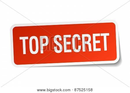 Top Secret Red Square Sticker Isolated On White