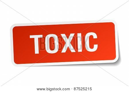 Toxic Red Square Sticker Isolated On White