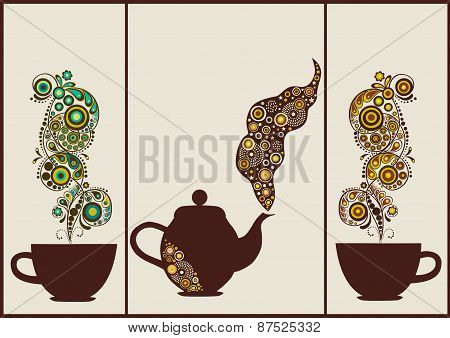 Set Of Banners With Cups And Teapot