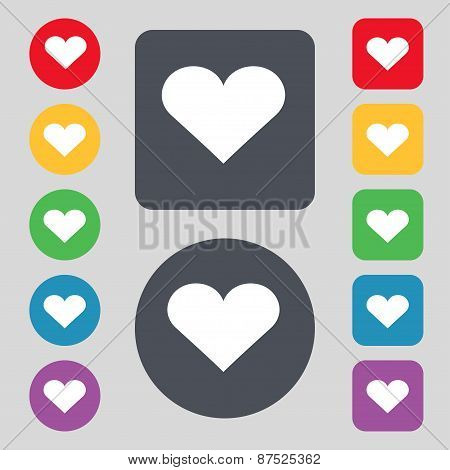 Heart, Love Icon Sign. A Set Of 12 Colored Buttons. Flat Design. Vector