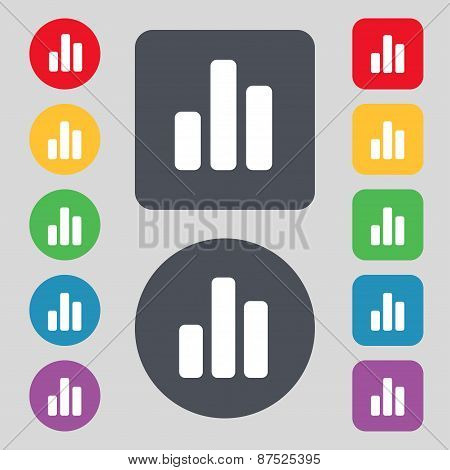Growth And Development Concept. Graph Of Rate Icon Sign. A Set Of 12 Colored Buttons. Flat Design. V