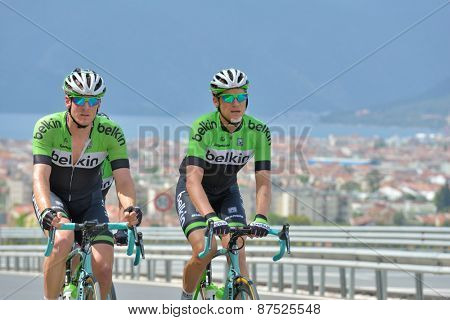 MARMARIS, TURKEY - MAY 1, 2014: Riders from the team Belkin warm up before the start of 5th stage of 50th Presidential Cycling Tour of Turkey