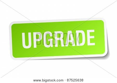 Upgrade Green Square Sticker On White Background