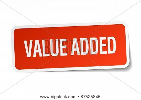 Value Added Red Square Sticker Isolated On White