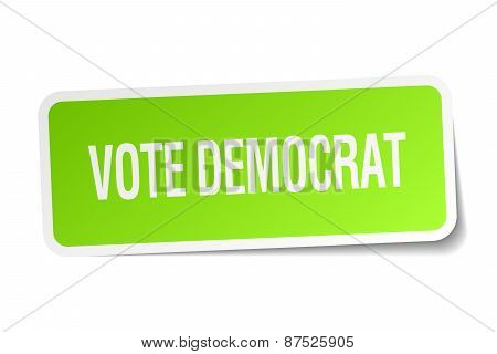 Vote Democrat Green Square Sticker On White Background