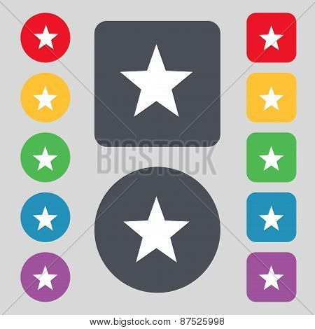 Star, Favorite Icon Sign. A Set Of 12 Colored Buttons. Flat Design. Vector