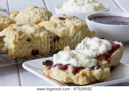 Sultana Scones with Jam and Cream on the Table