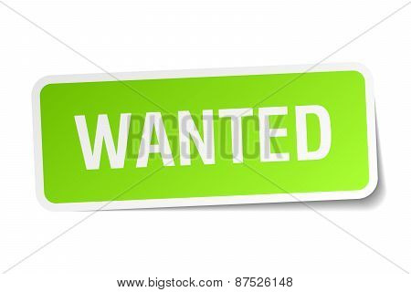 Wanted Green Square Sticker On White Background