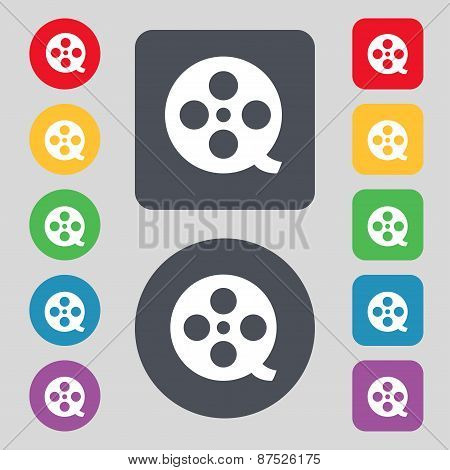 Film Icon Sign. A Set Of 12 Colored Buttons. Flat Design. Vector