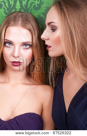 Portrait Of Two Sensual Woman In Night Dresess
