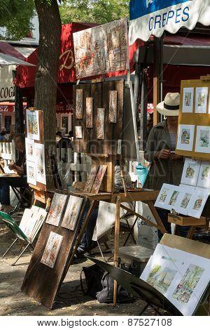 Paris - Open Air Artist Market at Tertre Square (Place du Tertre) in Montmartre