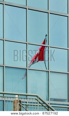 Canadian Flag In Blue Glass
