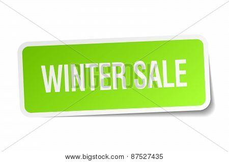 Winter Sale Green Square Sticker On White Background