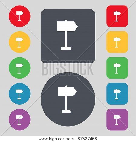 Signpost Icon Sign. A Set Of 12 Colored Buttons. Flat Design. Vector