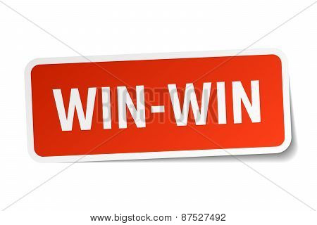 Win-win Red Square Sticker Isolated On White