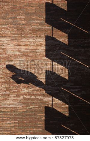 Building Brick Wall With Shadows In Verical Format