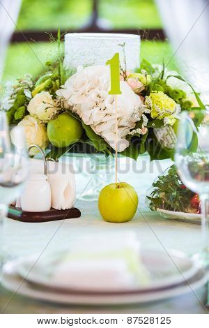 Summer Table Setting In Green With Apple