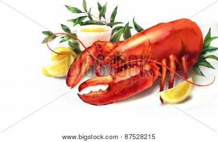 Watercolor Red Lobster And Lemon Illustration