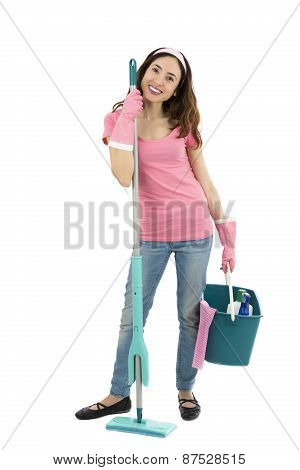 Spring Cleaning Lady With Cleaning Tools And A Bucket