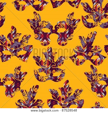 Seamless Pattern With Carnival Mask