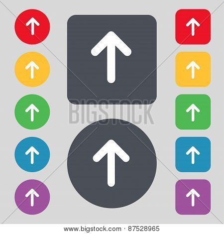 Arrow Up, This Side Up Icon Sign. A Set Of 12 Colored Buttons. Flat Design. Vector