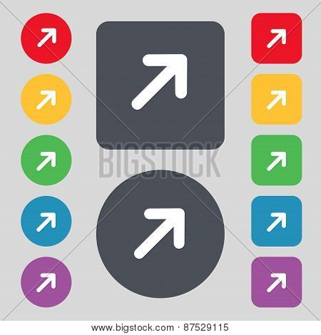 Arrow Expand Full Screen Scale Icon Sign. A Set Of 12 Colored Buttons. Flat Design. Vector