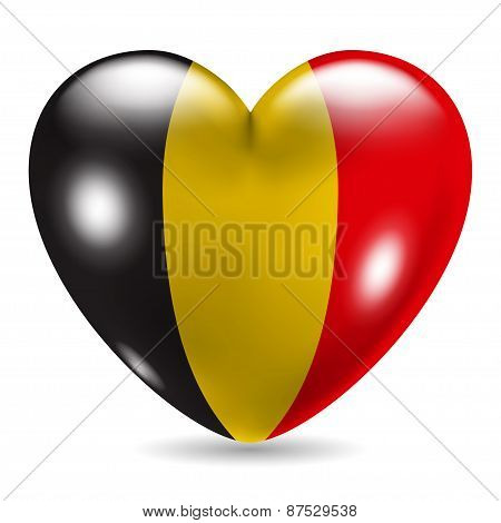 Heart Shaped Icon With Flag Of Belgium