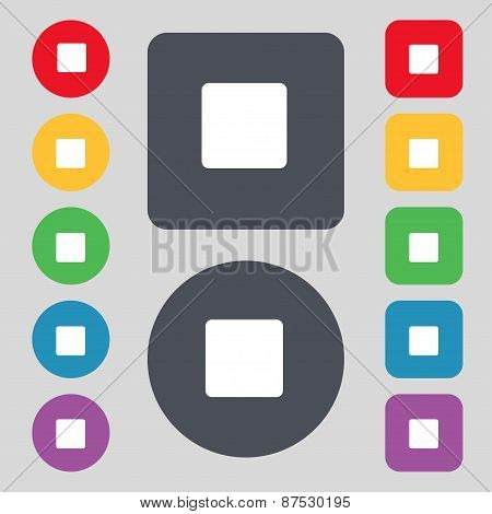 Stop Button Icon Sign. A Set Of 12 Colored Buttons. Flat Design. Vector