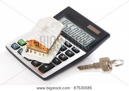 House, Key And Calculator Isolated