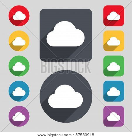 Cloud Icon Sign. A Set Of 12 Colored Buttons And A Long Shadow. Flat Design. Vector