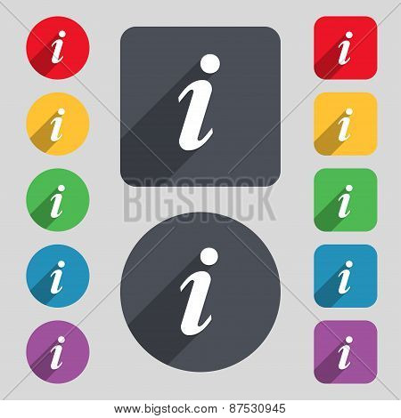 Information, Info Icon Sign. A Set Of 12 Colored Buttons And A Long Shadow. Flat Design. Vector