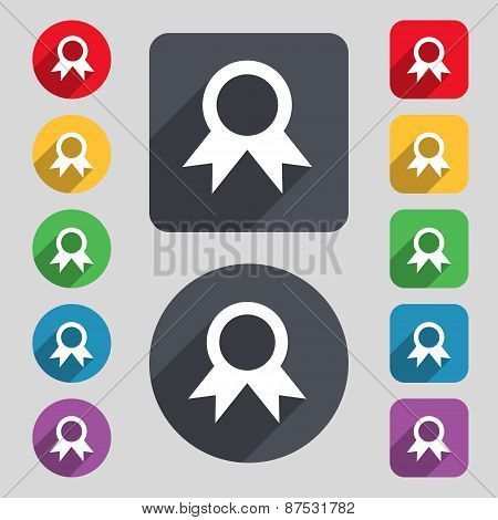 Award, Prize For Winner Icon Sign. A Set Of 12 Colored Buttons And A Long Shadow. Flat Design. Vecto