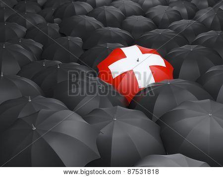 Umbrella With Flag Of Switzerland