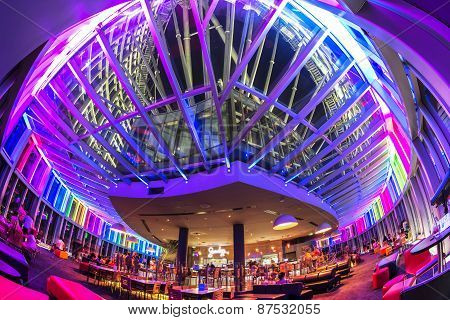 Fisheye view of Gold Coast Q1 observation deck and Seventy7 Cafe and Bar