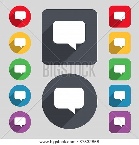 Speech Bubble, Chat Think Icon Sign. A Set Of 12 Colored Buttons And A Long Shadow. Flat Design. Vec