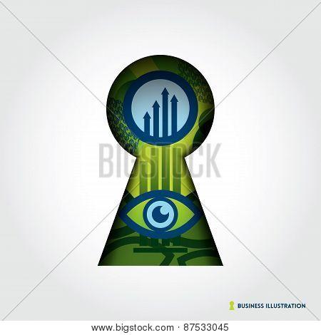 Minimal Style Key Hole Business Concept Illustration