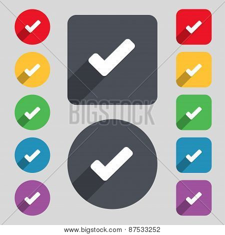 Check Mark, Tik Icon Sign. A Set Of 12 Colored Buttons And A Long Shadow. Flat Design. Vector