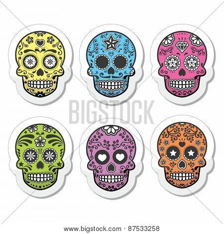 Mexican sugar skull, Dia de los Muertos icons set