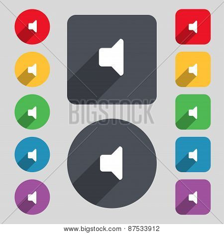 Speaker Volume, Sound Icon Sign. A Set Of 12 Colored Buttons And A Long Shadow. Flat Design. Vector