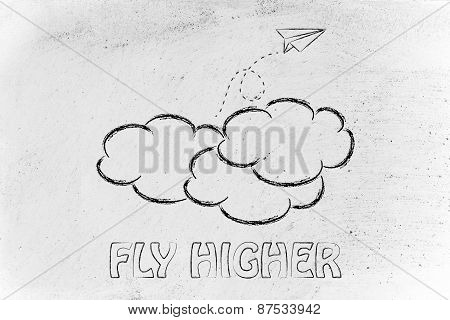 Fly Higher Illustration With Paper Airplane, Metaphor Of Success And Achieving Dreams