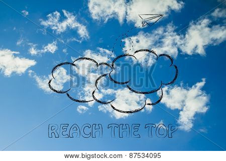 Reah The Top Illustration With Paper Airplane, Metaphor Of Success And Achieving Dreams