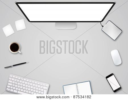 Workplace With Tech Device