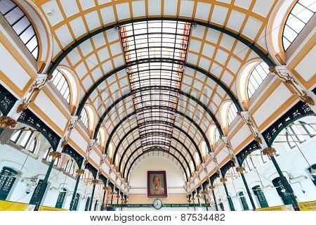 HO CHI MINH, VIETNAM, DECEMBER 08, 2014: Interior structure of the central post office built by the French architect Gustave Eiffel in Ho Chi Minh city (Saigon), Vietnam