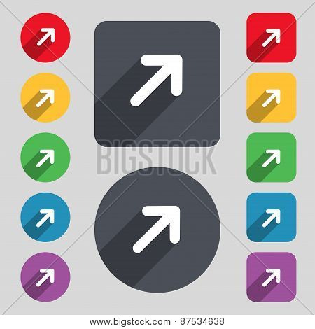 Arrow Expand Full Screen Scale Icon Sign. A Set Of 12 Colored Buttons And A Long Shadow. Flat Design