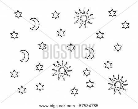 Sun, Moon And Stars Black And White Background