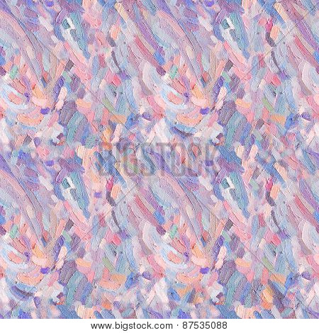 Seamless Pattern Of Oil Paint Splash. Coloured Oil Paint Strokes