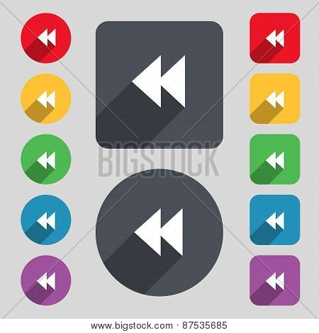 Rewind Icon Sign. A Set Of 12 Colored Buttons And A Long Shadow. Flat Design. Vector