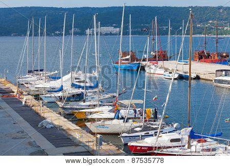 Sailing Yachts And Boats Stand In Marina, Port Of Varna