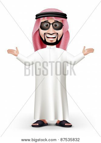 3D Handsome Saudi Arab Man in Traditional Dress Stand Teaching
